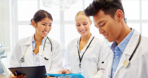 A group of doctors in a learning environment